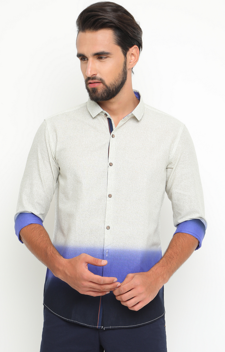 With | White and Blue Colourblock Casual Shirt