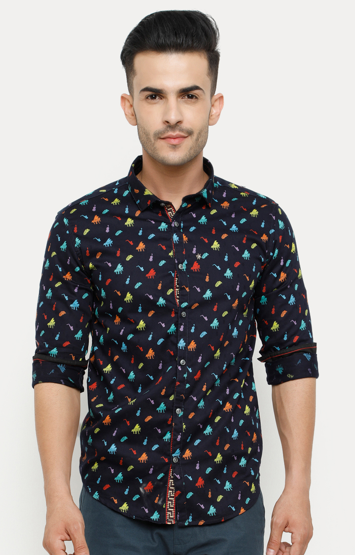 With   Navy Blue Printed Casual Shirt