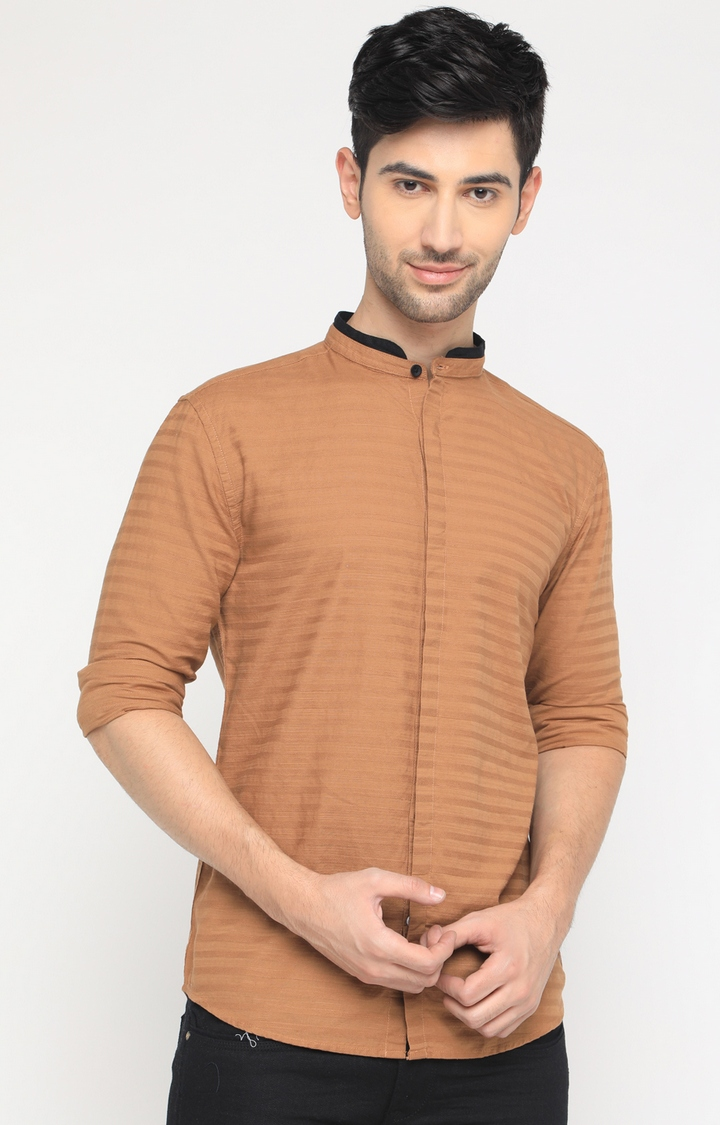 With | Brown Striped Casual Shirt