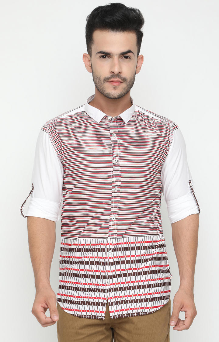 With | White and Red Striped Casual Shirt