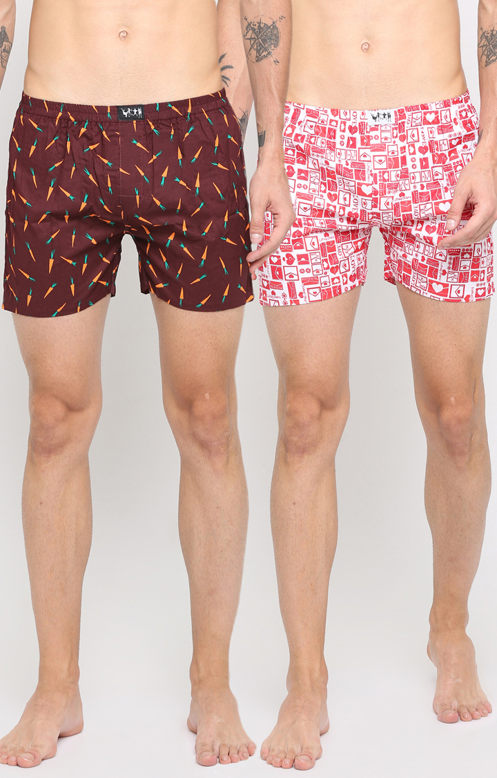 With   Brown and Red Printed Boxers - Pack of 2