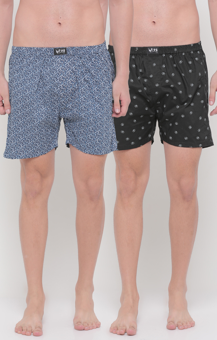 With   Blue and Black Printed Boxers - Pack of 2