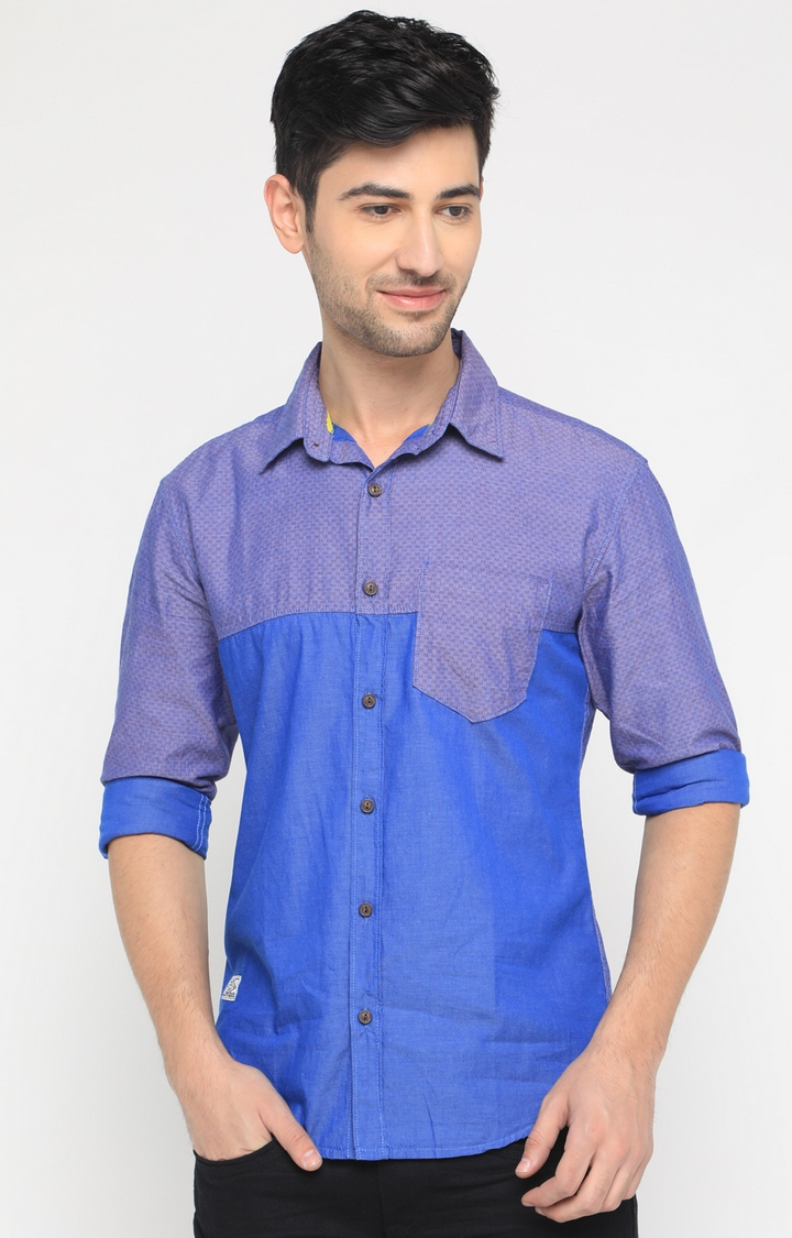 With   Blue Checked Casual Shirt
