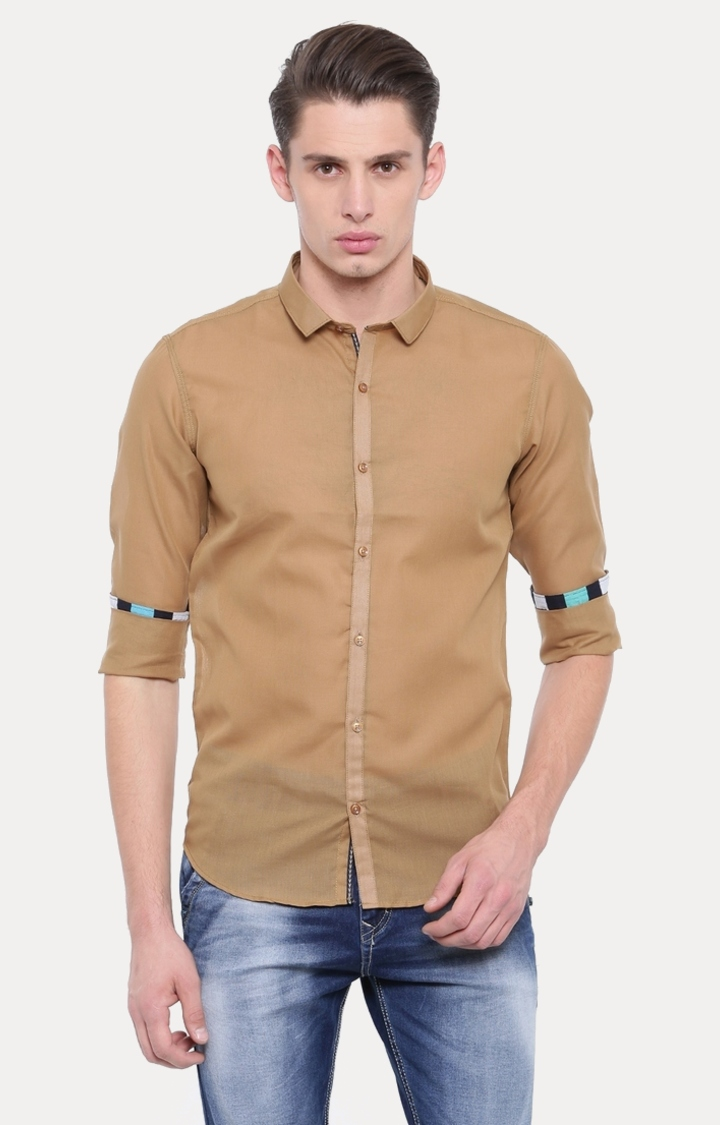 Light Brown Solid Casual Shirt