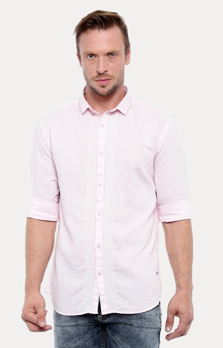 With | Pink Melange Casual Shirt