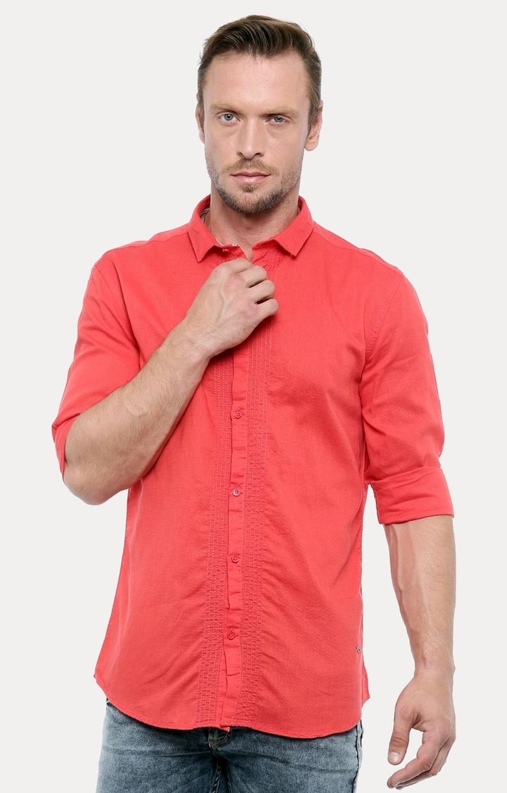 With | Red Melange Casual Shirt