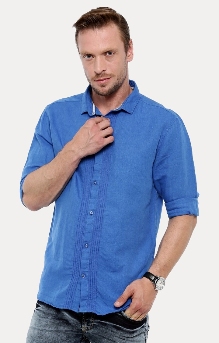 With | Blue Melange Casual Shirt