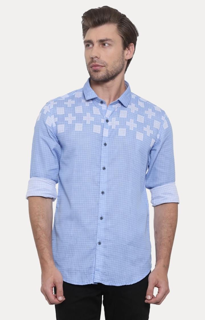 With | Blue Checked Casual Shirt