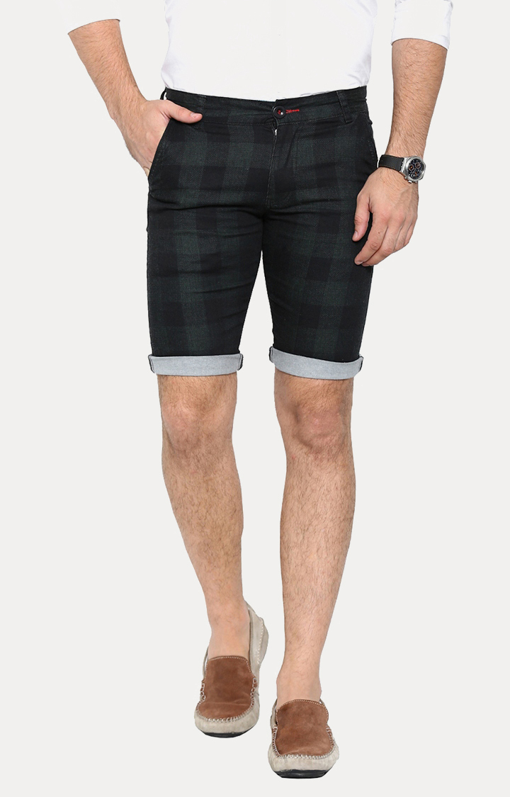 With | Olive Checked Shorts