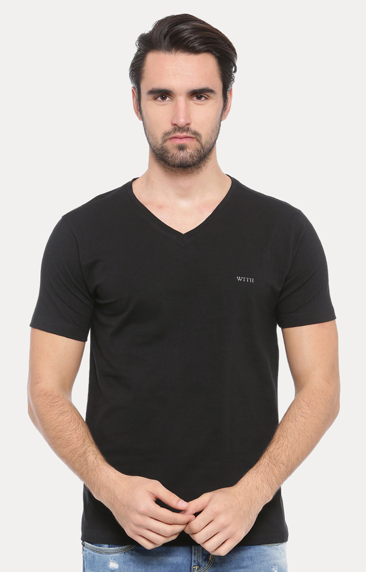 With   Black Solid T-Shirt
