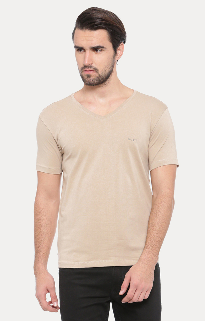 With   Beige Solid T-Shirt