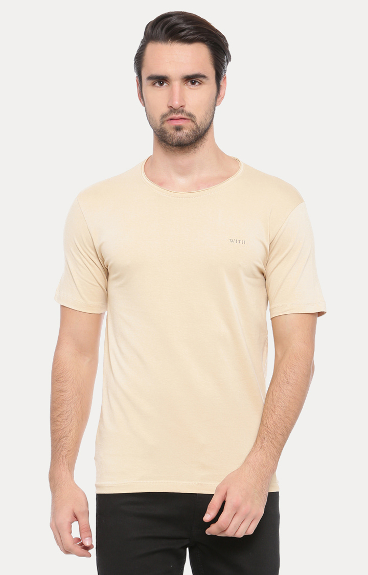 Beige Solid T-Shirt