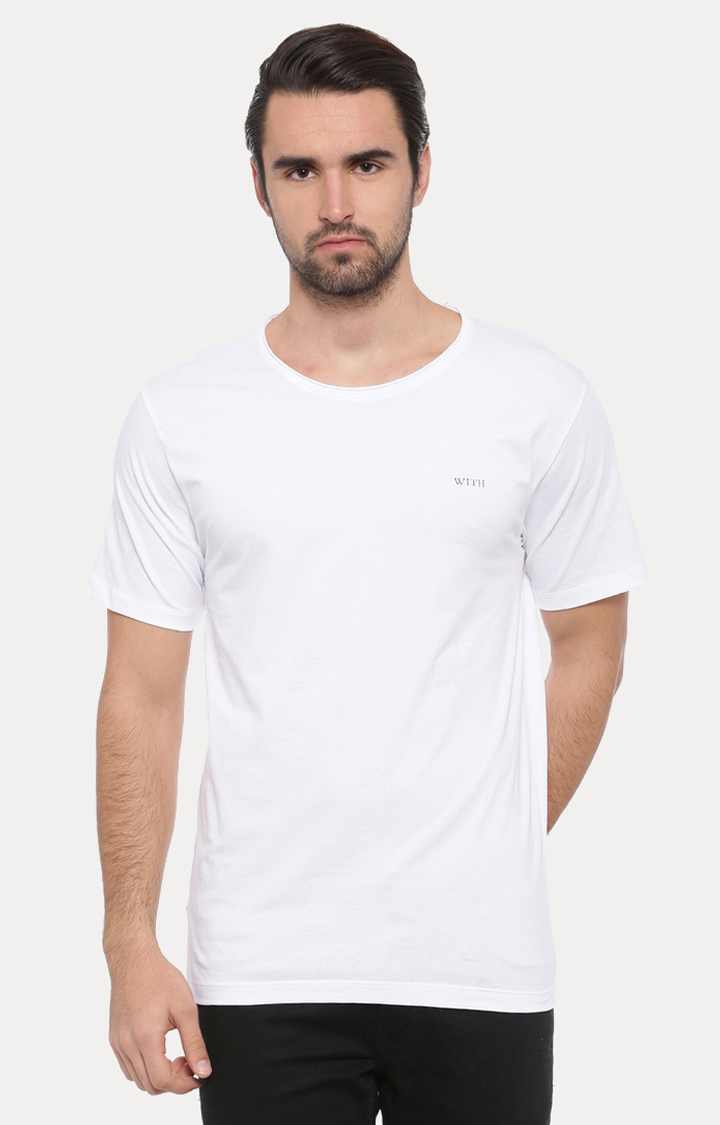 With   White Solid T-Shirt