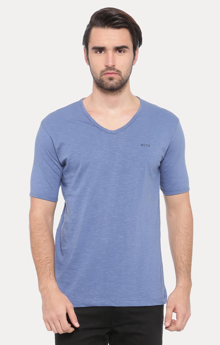 With   Light Blue Melange T-Shirt