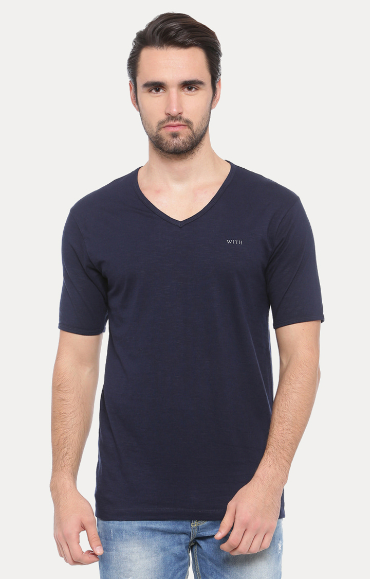 With   Dark Blue Solid T-Shirt