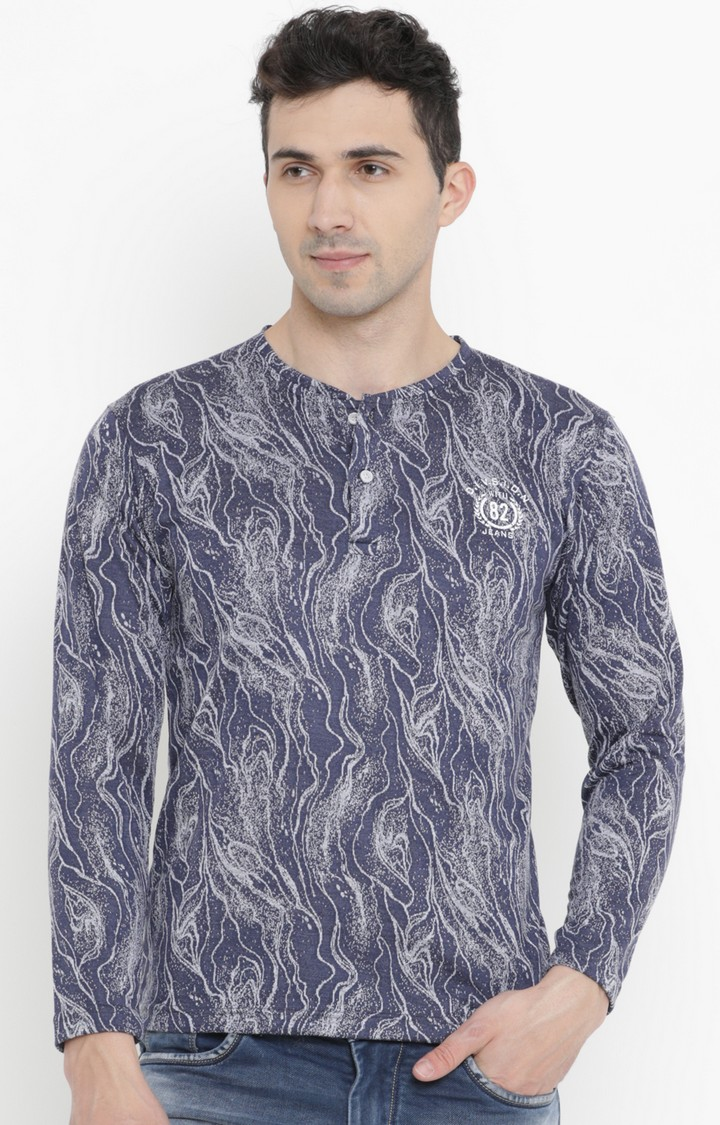 With | Navy Blue Printed T-Shirt
