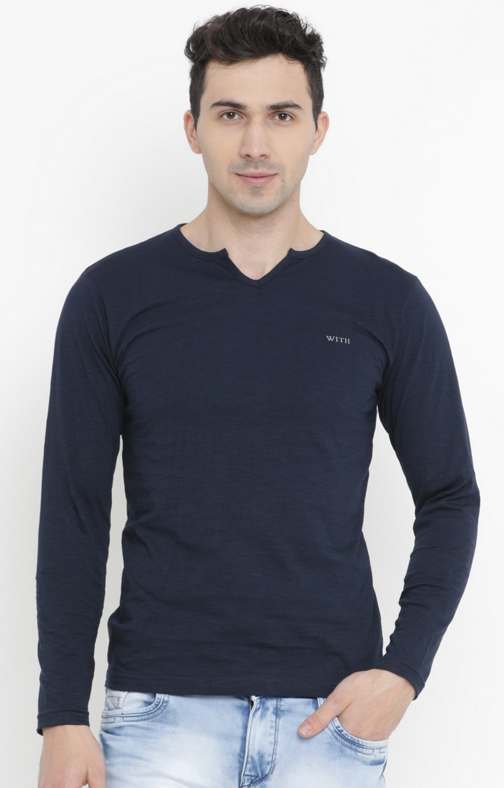 With   Navy Blue Solid T-Shirt