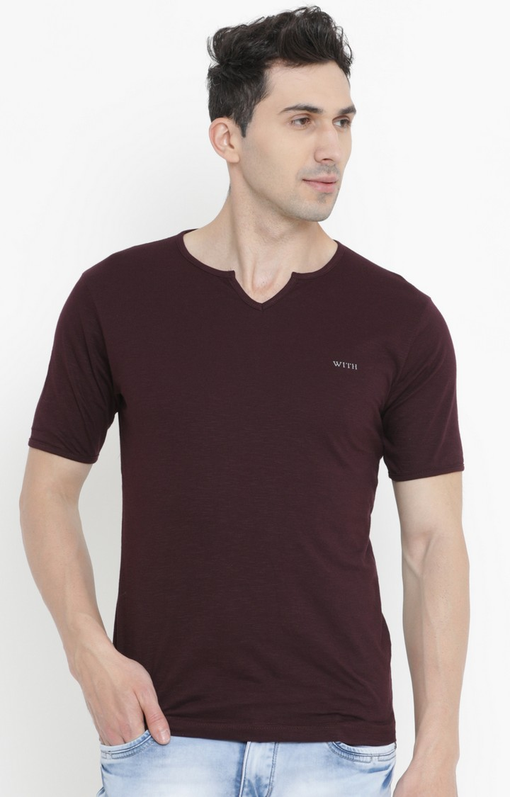 With   Maroon Solid T-Shirt