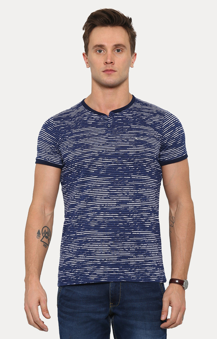 With   White and Blue Printed T-Shirt
