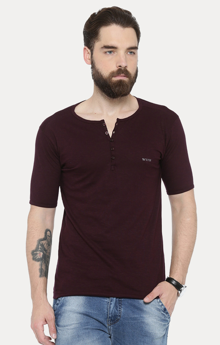 With | Maroon Solid T-Shirt