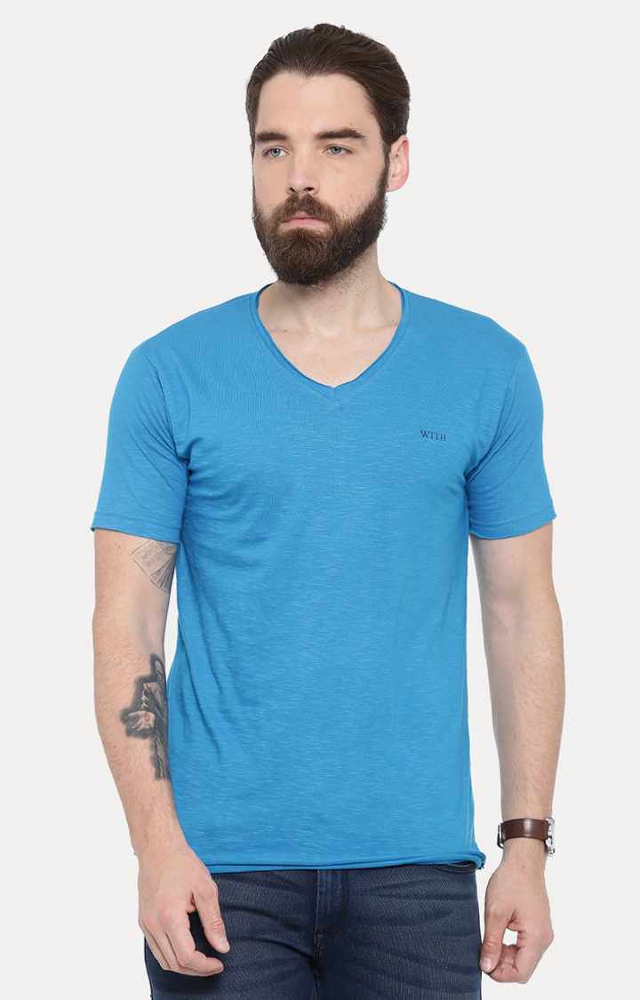 With | Blue Solid T-Shirt