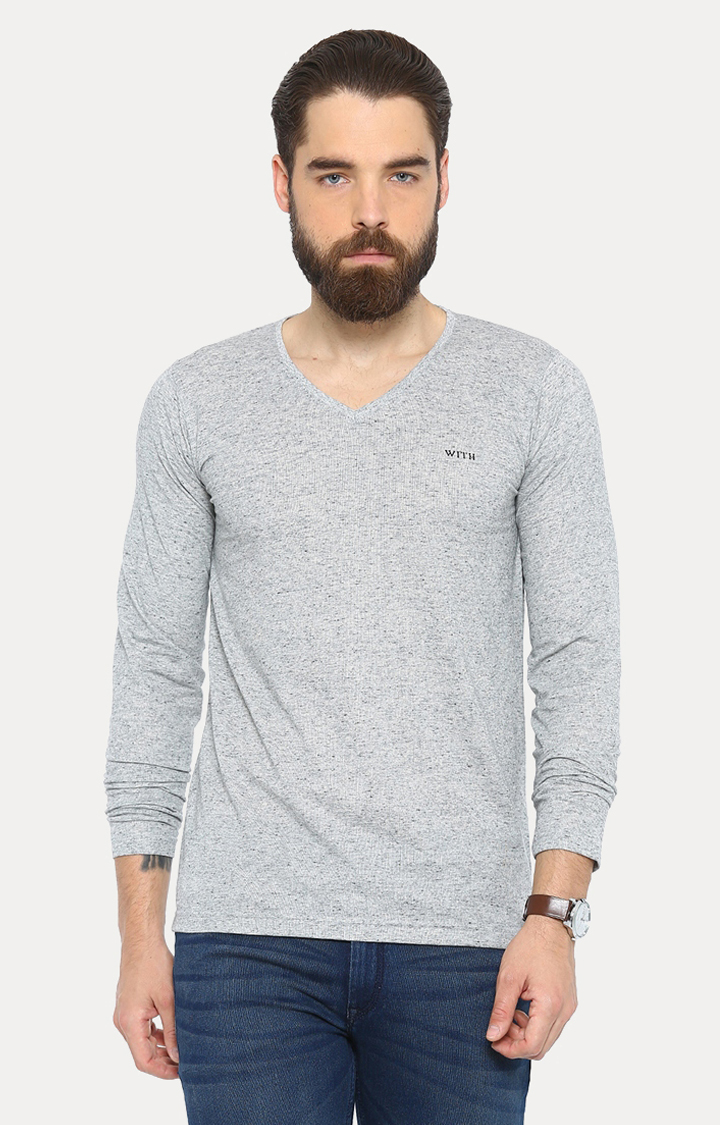 With   Navy Blue Melange T-Shirt