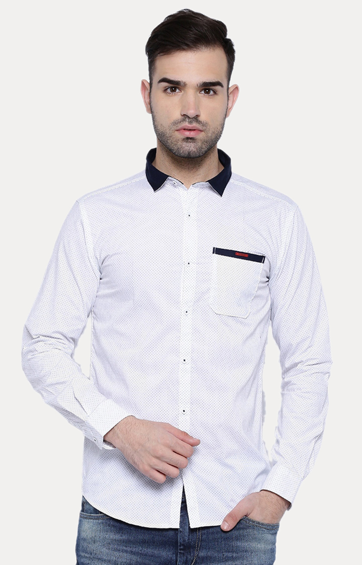 With   White Patterned Casual Shirt