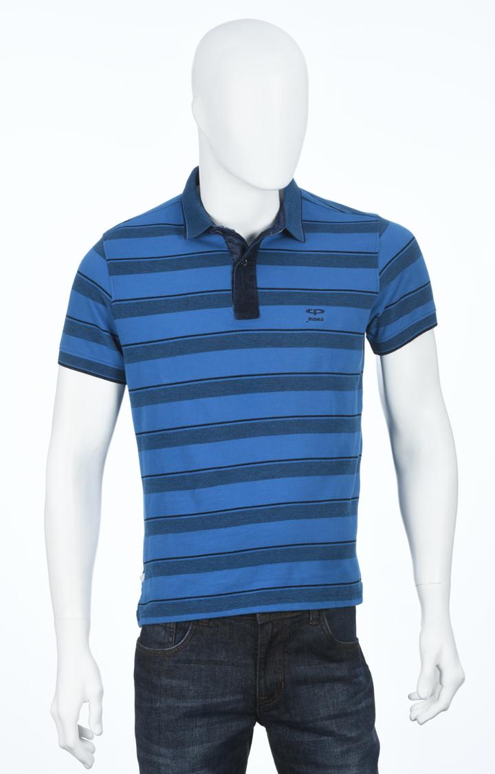 ColorPlus   Blue Striped Polo T-Shirt