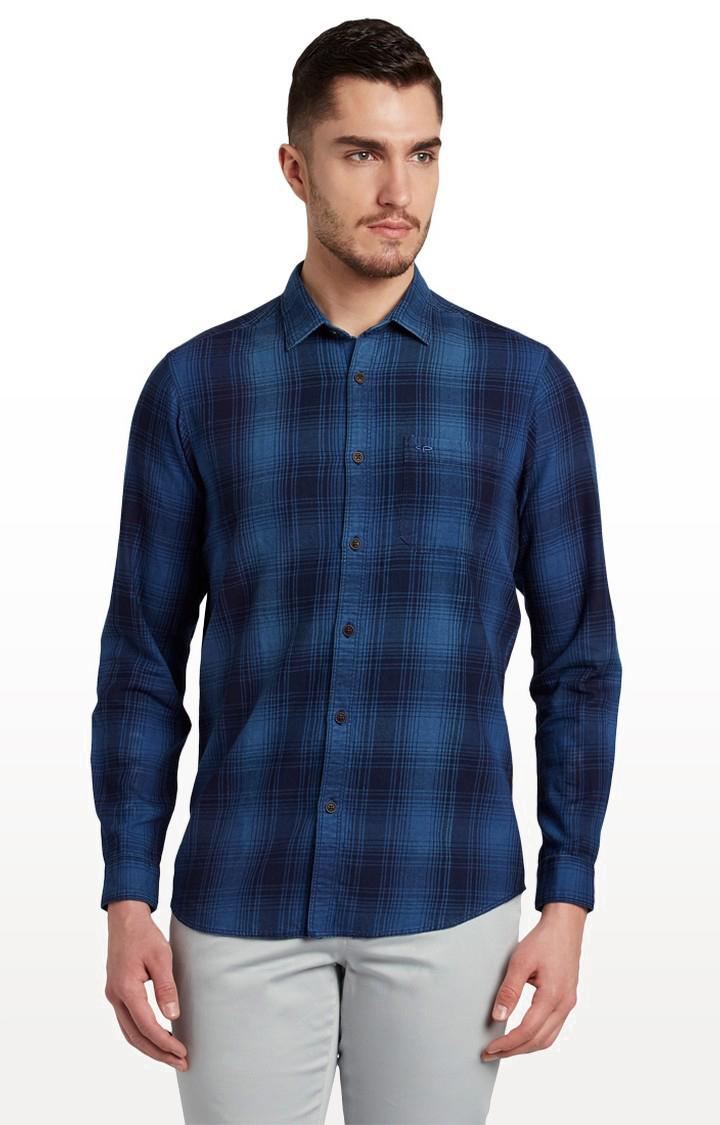 ColorPlus | Dark Blue Checked Casual Shirt
