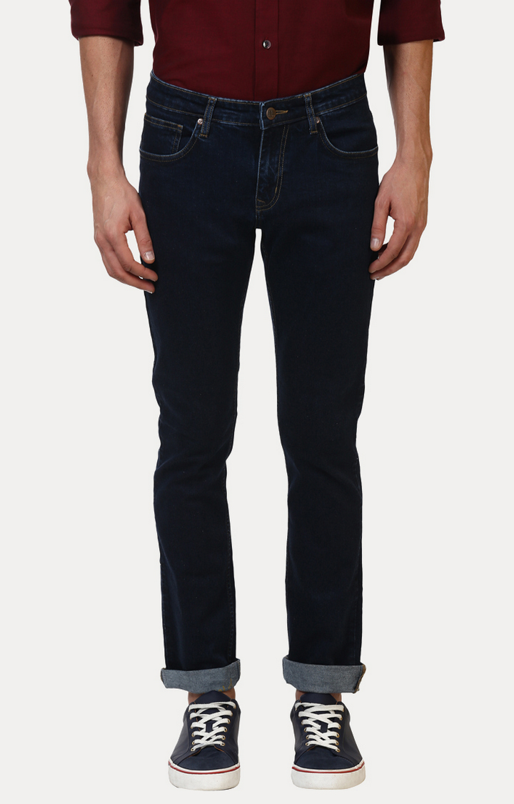 ColorPlus   Navy Solid Tapered Jeans