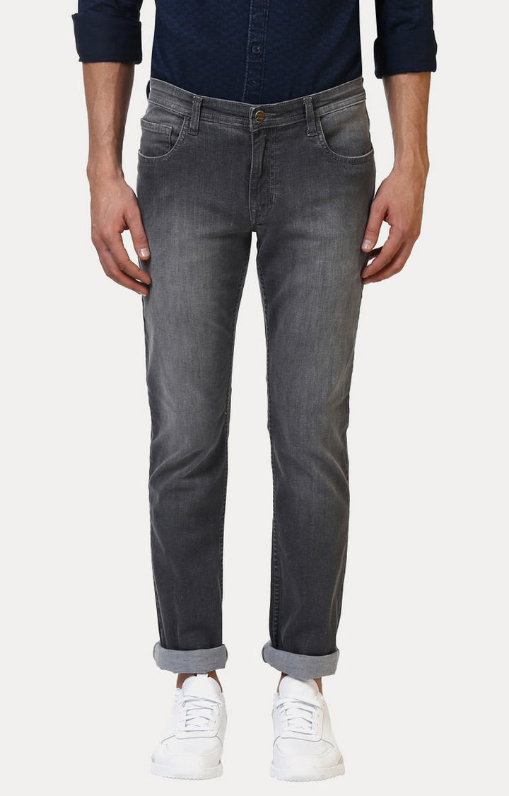 ColorPlus | Grey Solid Tapered Jeans