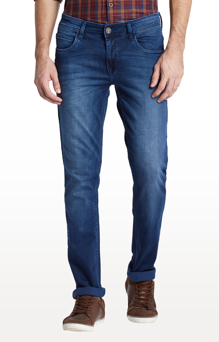 Medium Blue Solid Tapered Jeans