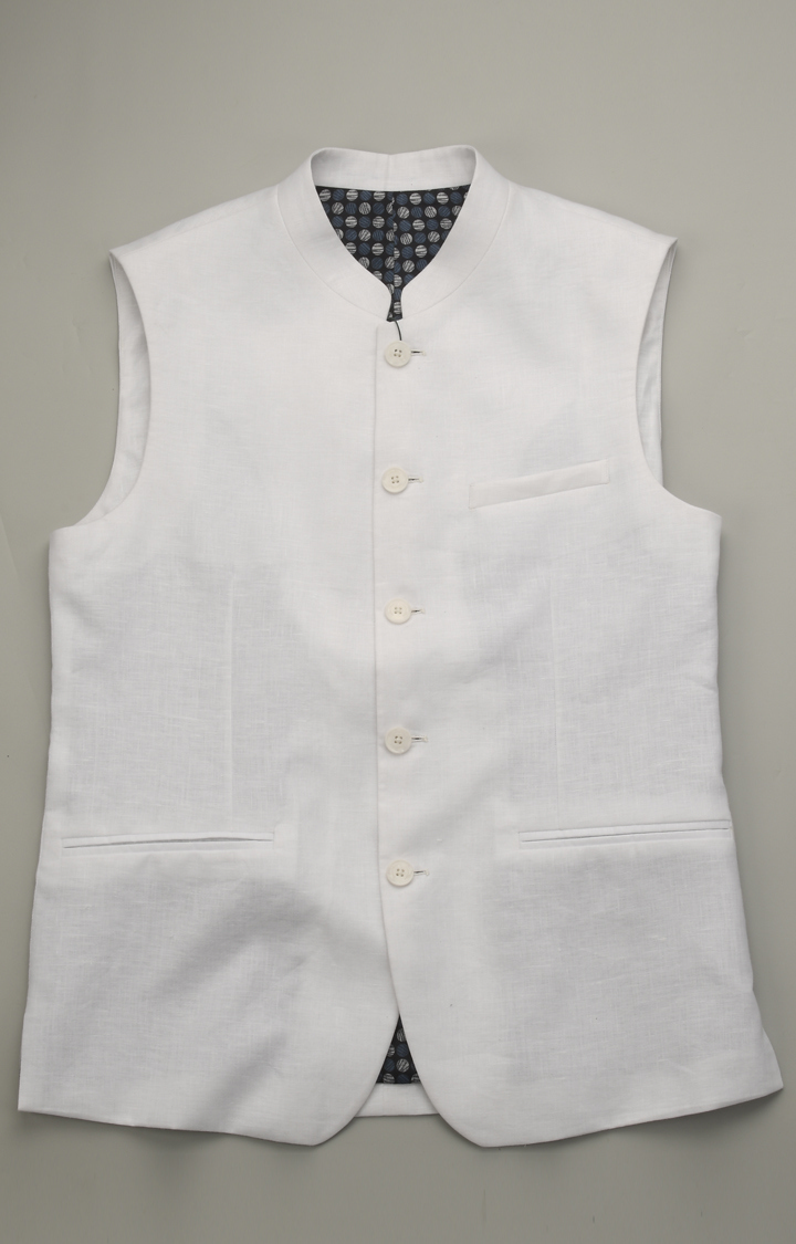 ColorPlus | White Solid Ethnic Jacket