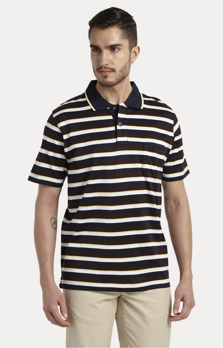 ColorPlus   Navy Striped Polo T-Shirt