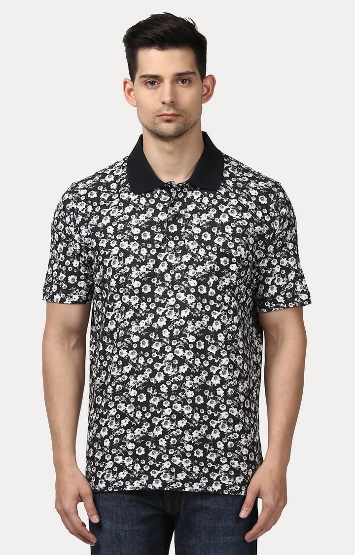 ColorPlus | Black Printed Polo T-Shirt