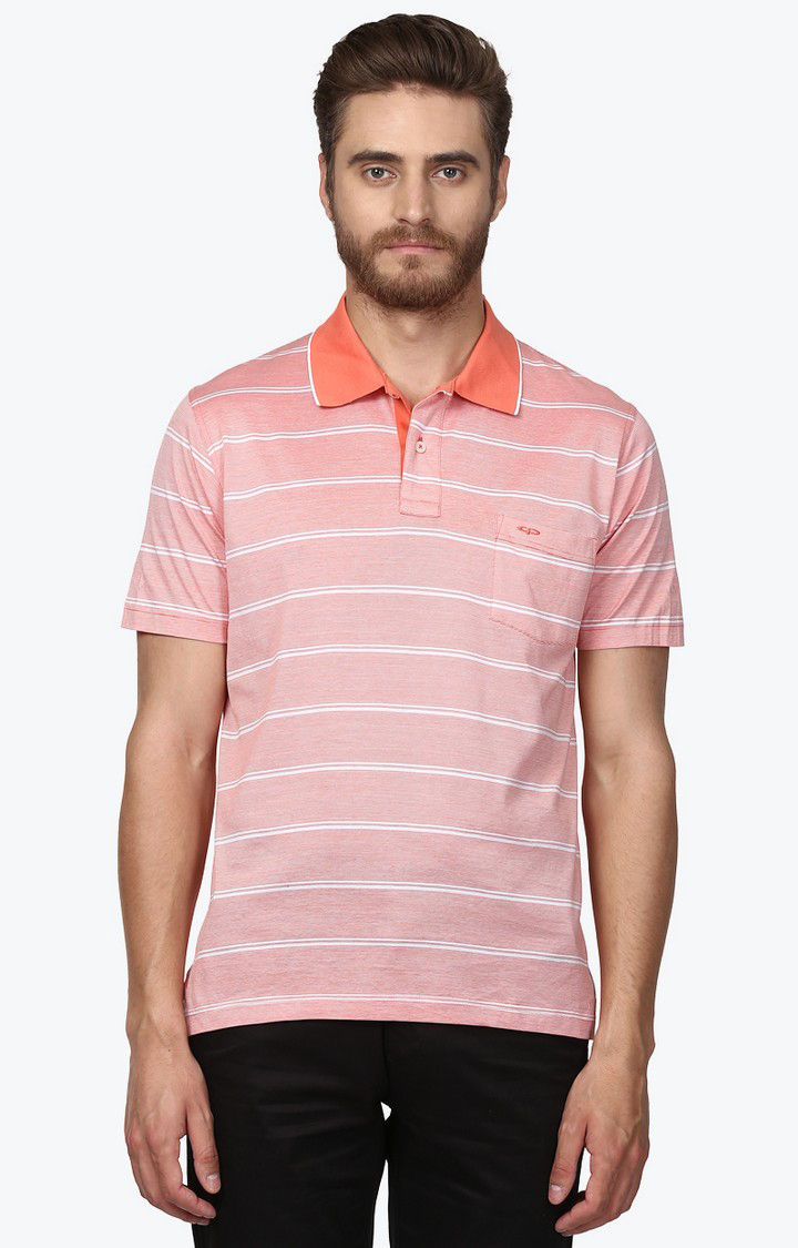ColorPlus   Light Orange Striped Polo T-Shirt