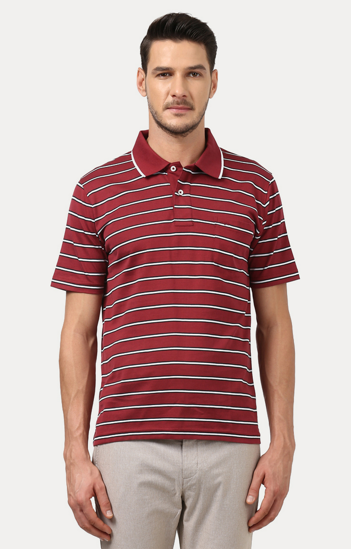ColorPlus | Red Striped Polo T-Shirt