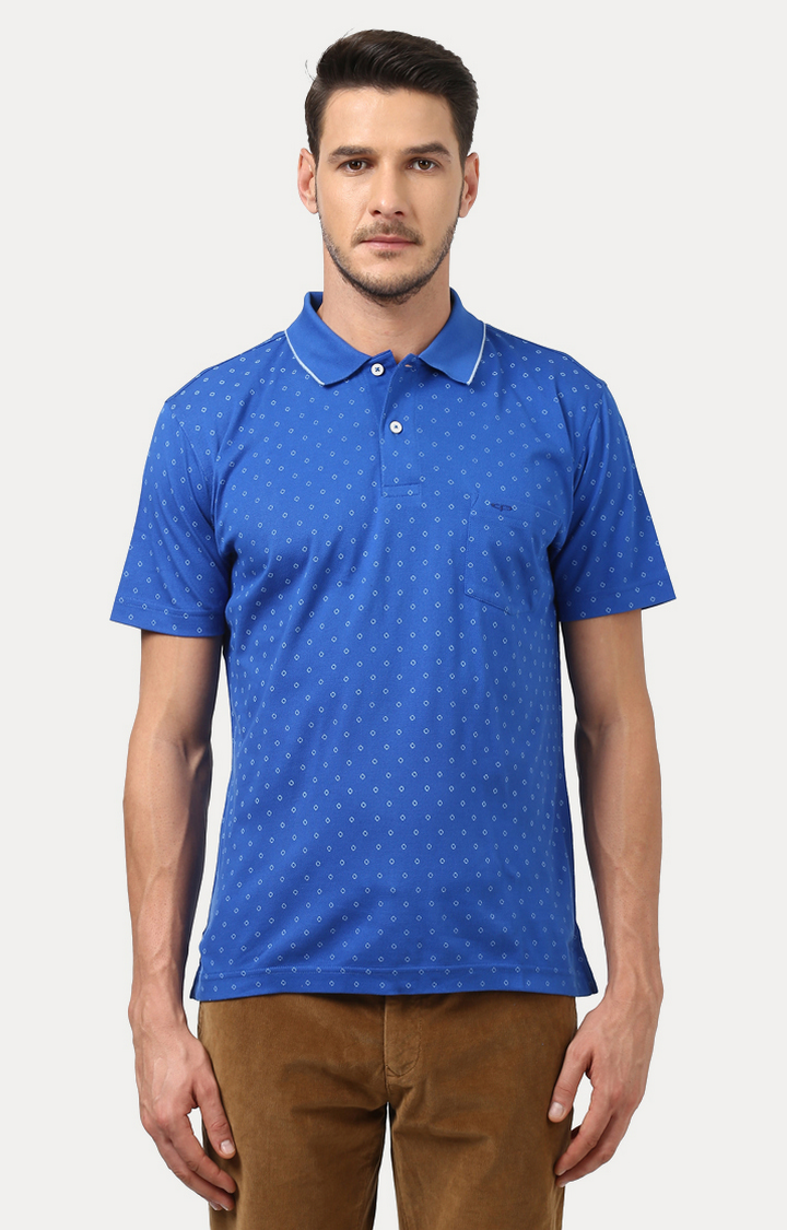 ColorPlus   Blue Printed Polo T-Shirt