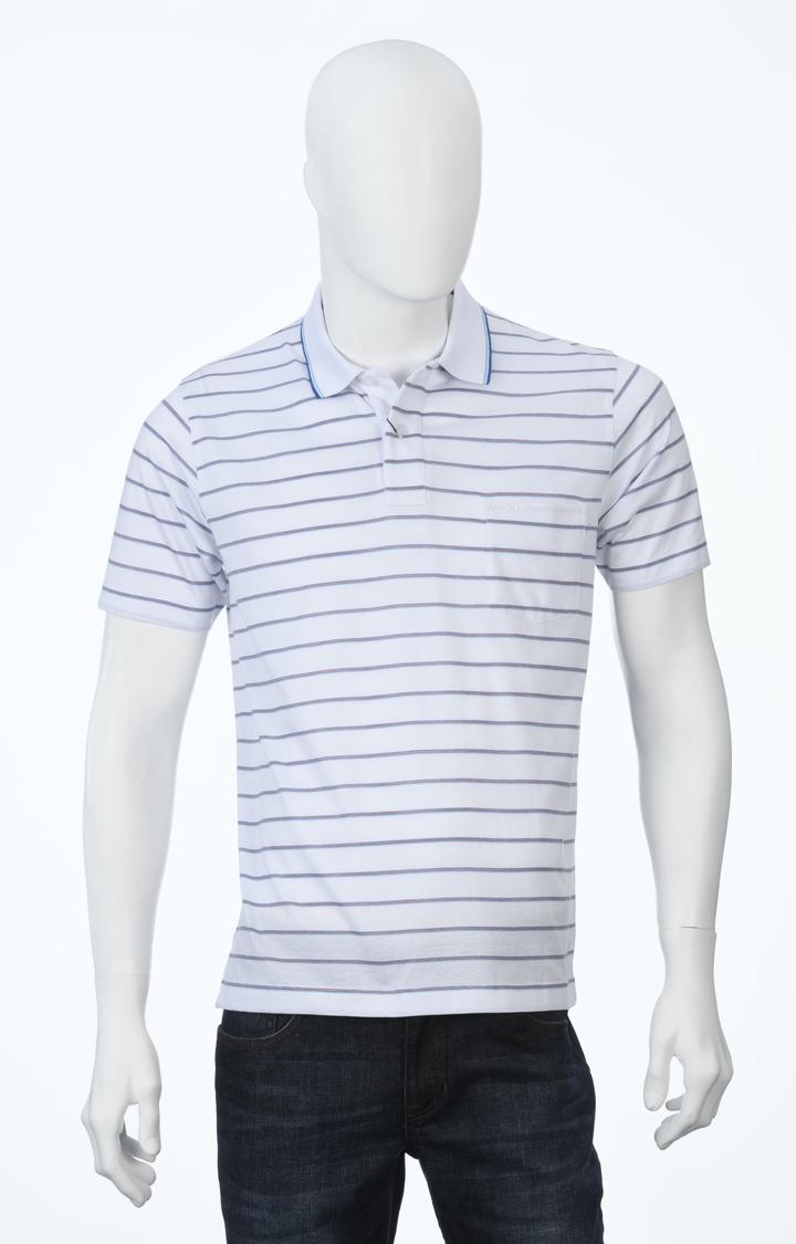 ColorPlus   White Striped Polo T-Shirt