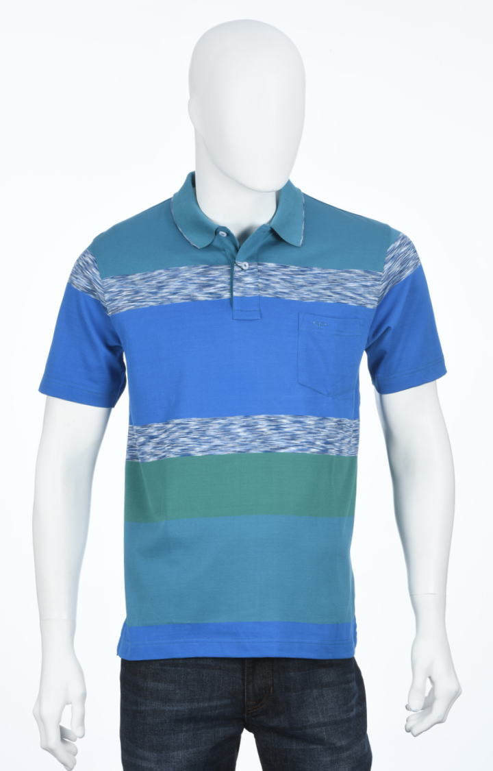 ColorPlus   Blue and Green Colourblock Polo T-Shirt