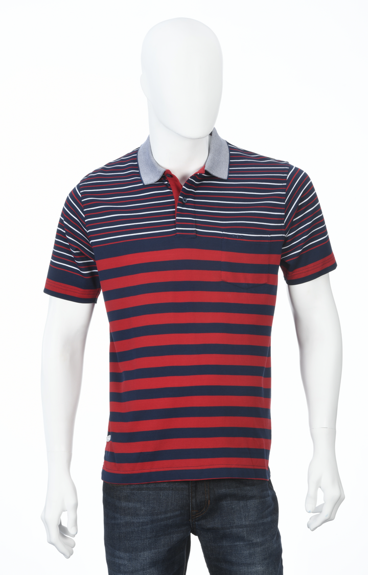ColorPlus | Red and Navy Striped Polo T-Shirt