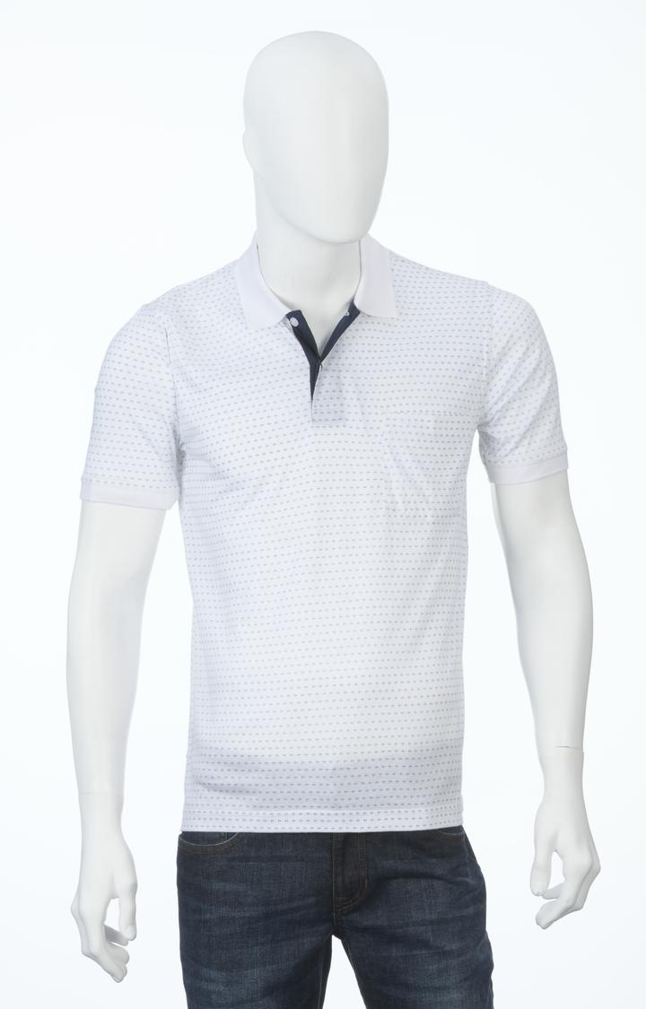 ColorPlus | White Printed Polo T-Shirt