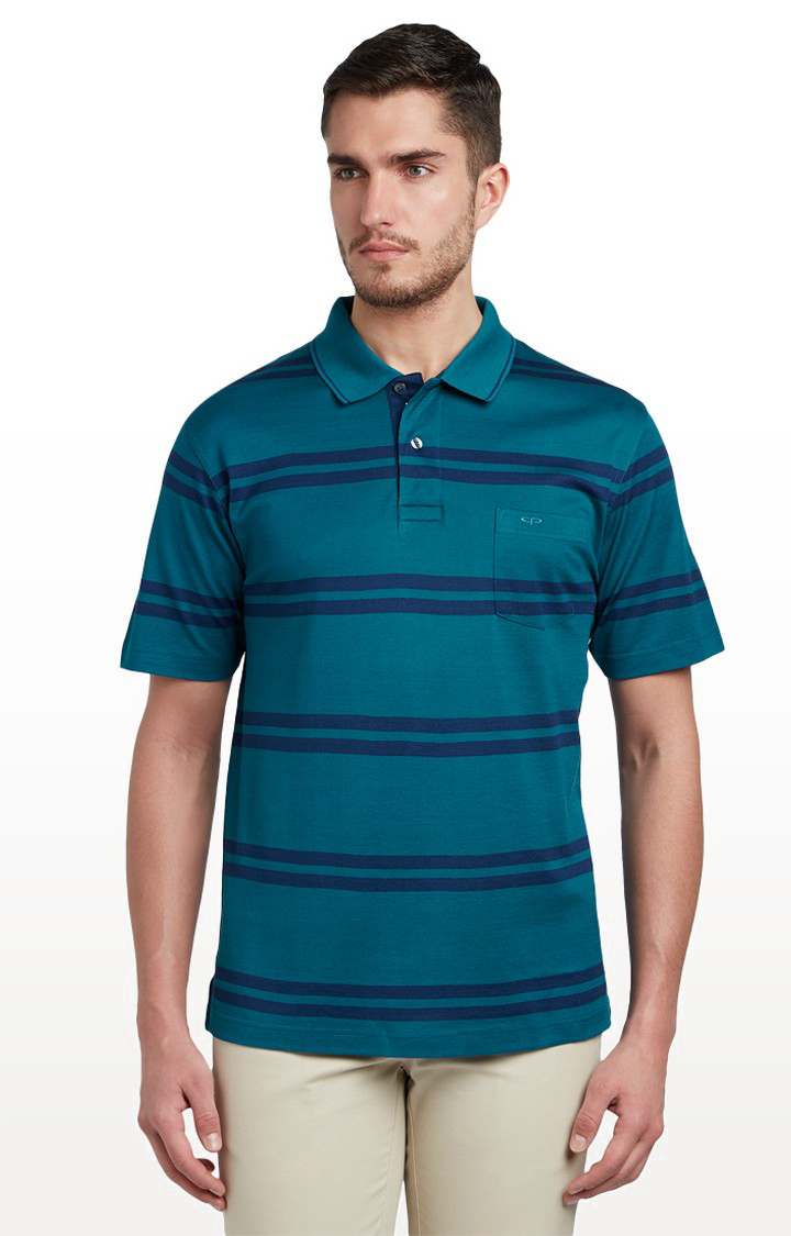ColorPlus | Teal Striped T-Shirt