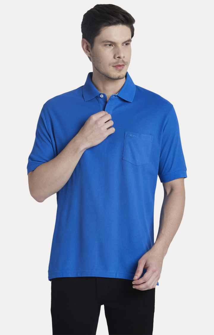 ColorPlus   Blue Solid Polo T-Shirt