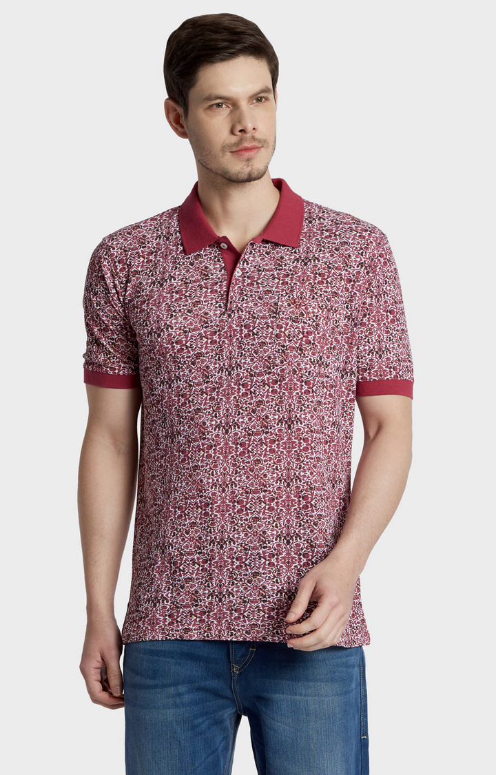 ColorPlus | Dark Red Printed Polo T-Shirt