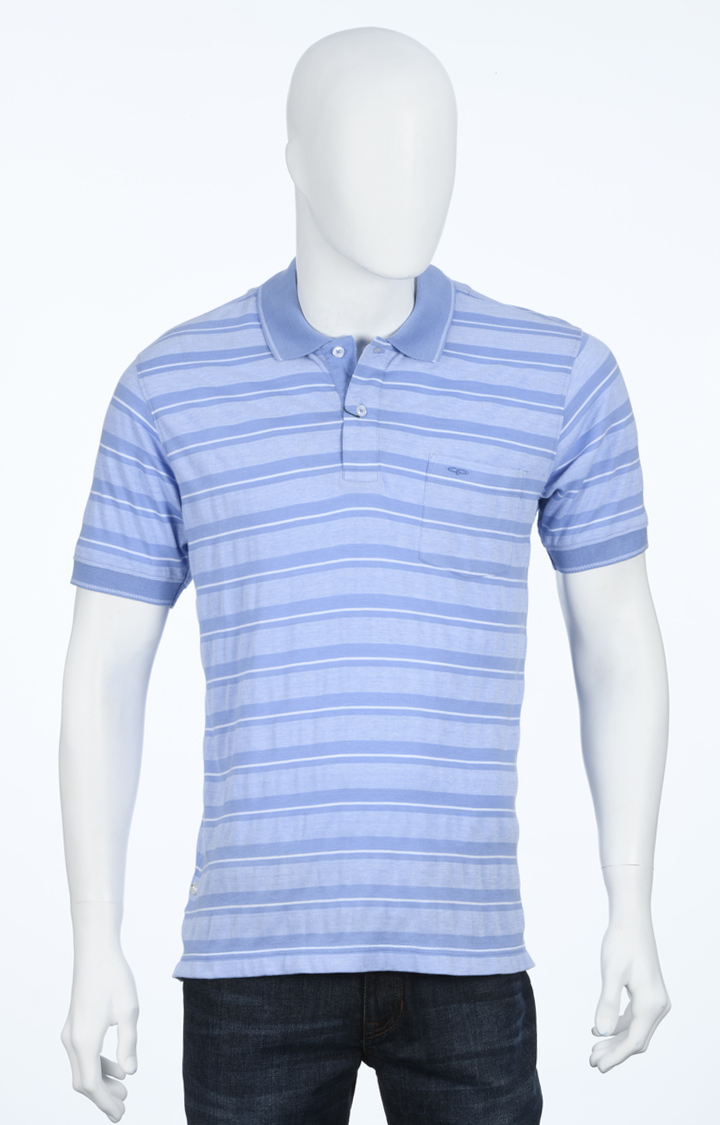 Blue Striped Polo T-Shirt
