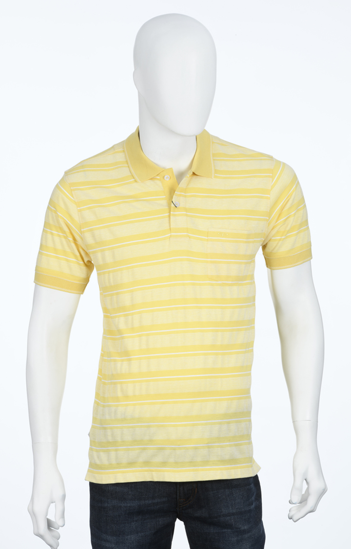 ColorPlus | Yellow Striped Polo T-Shirt