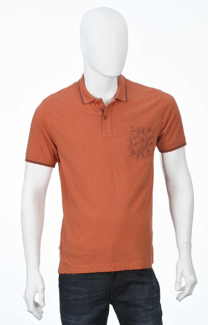 ColorPlus   Orange Melange Polo T-Shirt
