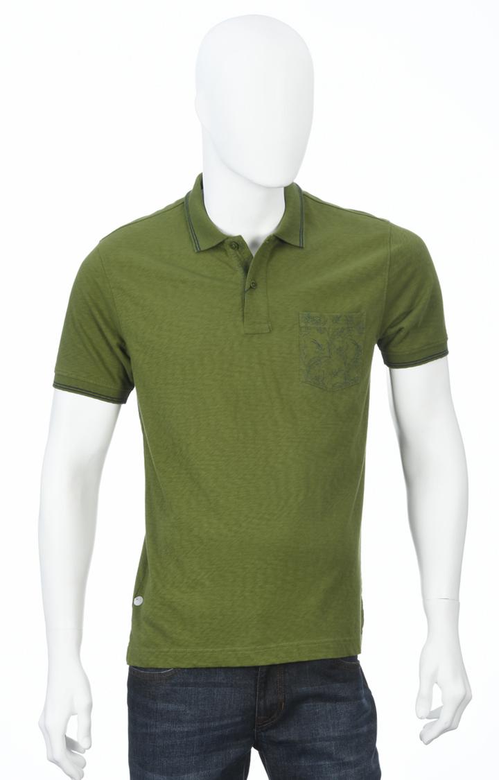 ColorPlus   Dark Green Melange Polo T-Shirt