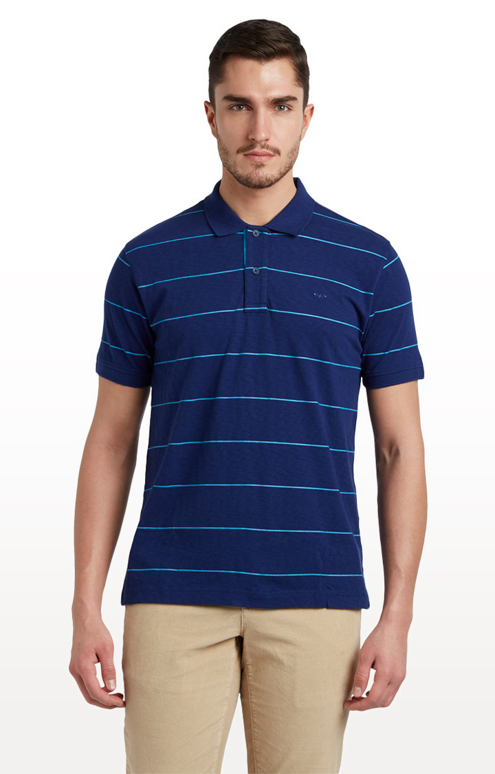 ColorPlus   Blue Striped Tailored Fit Polo T-Shirt